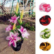 5pcs Color Mix Nylon Stocking Ronde Flower Material Tensile Stocking Material Accessory Handmade Wedding Home DIY Nylon Flower(China)