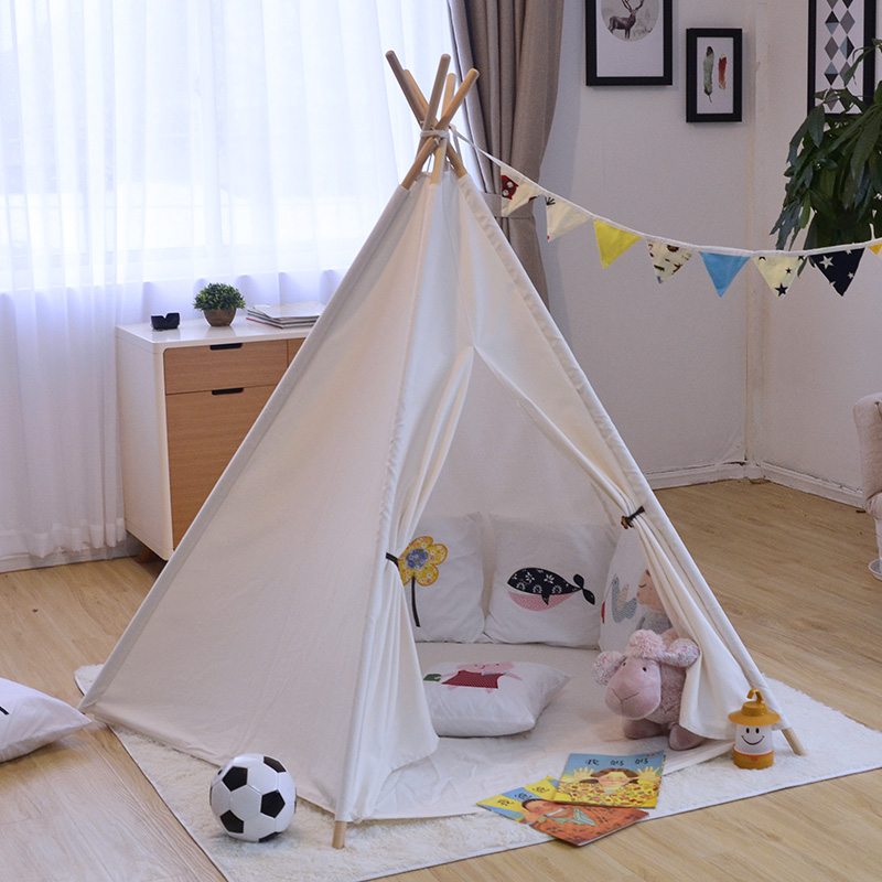 Ins Solid White Canvas  Portable Indian Play Tent Children Kids Boys Girls Play  Indoor Tents For Kids Teepee Toys For Crawling children tents indian toy teepee safety tent portable play house kids indoor game room outdoor tourist playpens tents corralito
