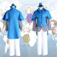 Axis Powers Cosplay Costumes Hetalia Arthur Kirkland Uniform Costume Blue Cloak Hat Shirt Tie Full Set United Kingdom Uniform
