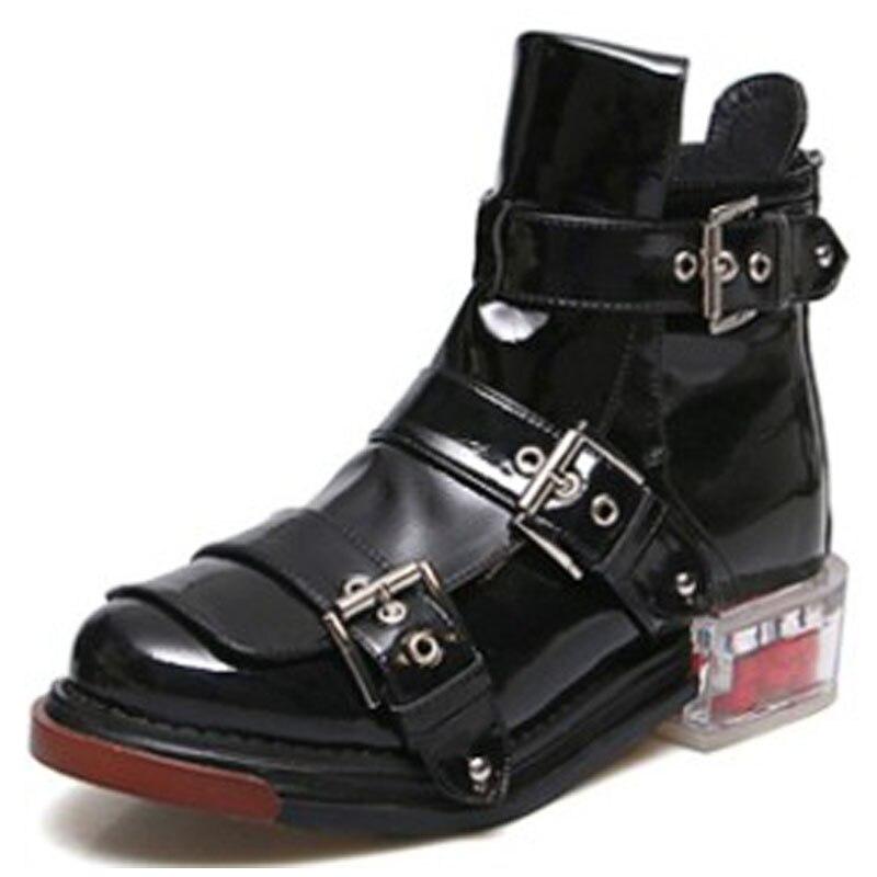 Otoño De Genuino 1 Flor Nueva La 2 Botas Cremallera Las W004621g Cuero Mujer Moda Zapatos black blanco Mujeres Invierno Black Hebilla qPwS5