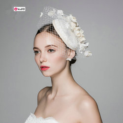 New arrival forest style elegant cotton linen flowers grenadine bridal hat photo props 865.jpg 250x250