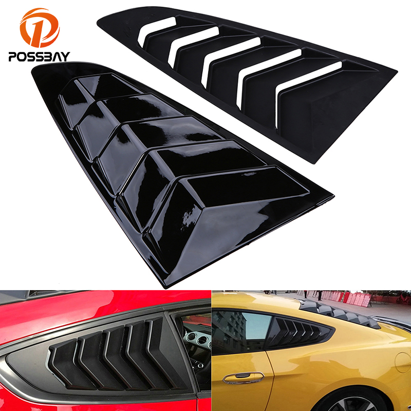 POSSBAY Gloss Black Side Vent Window for Ford Mustang Fastback 2015 present Rear Quarter Car Auto