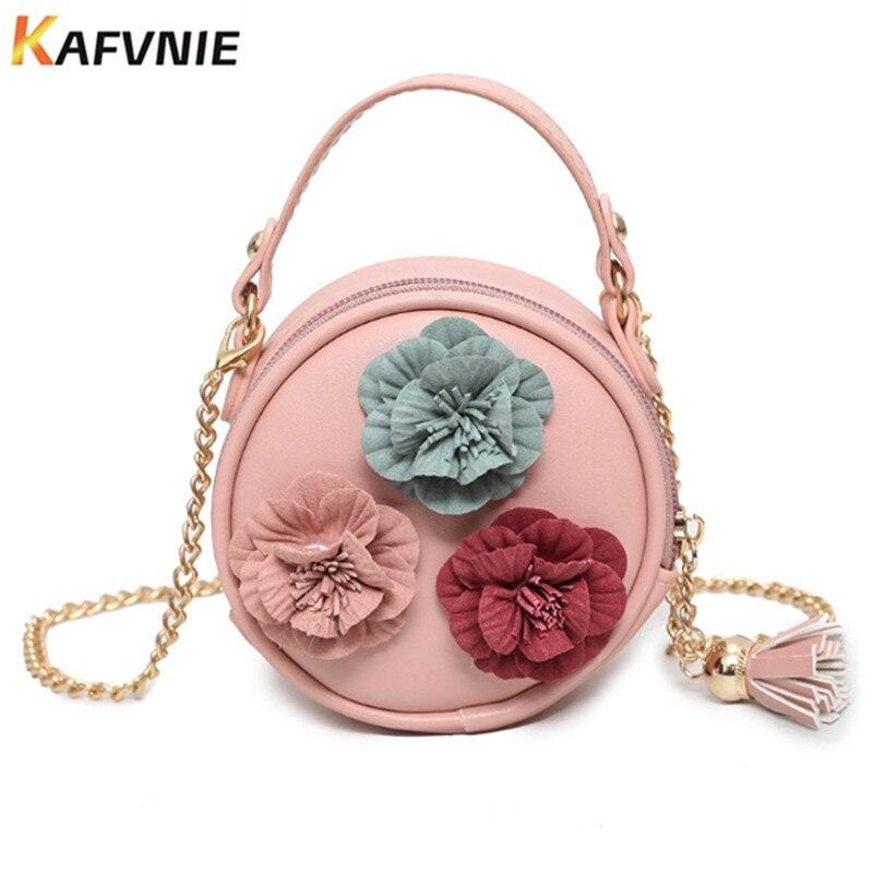Neue Nette Mini Tasche Kinder Handtasche Für Frauen Cartoon Blume Quaste PU Wasserdichte Sollte Tasche Kinder Mädchen Mode Messenger Bags