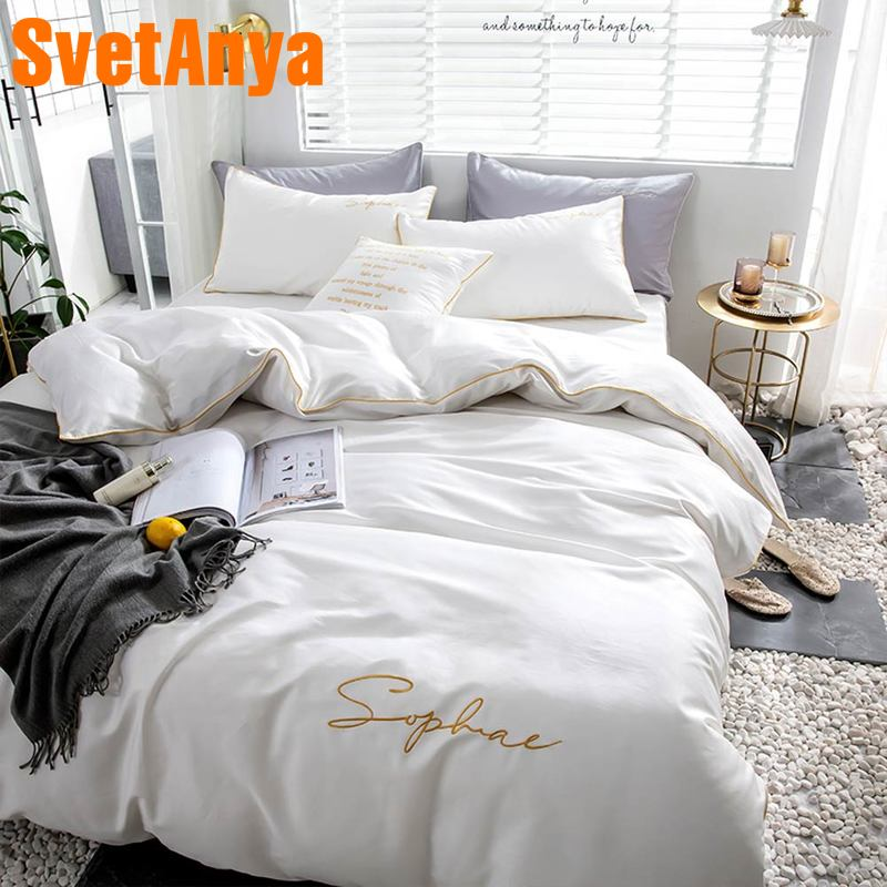 Svetanya egyptian Cotton Bedding Set king queen double size flat fitted Sheet Bedlinen-in Bedding Sets from Home & Garden