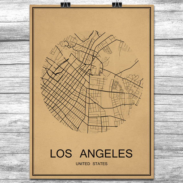 LOS ANGELES World City Map Vintage Retro Poster Kraft Paper Wall Art ...