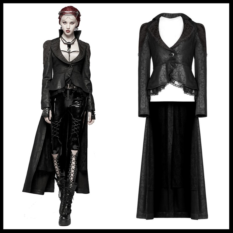 PUNK RAVE Women Gothic Black Long dust Coat Stage Perform Punk Trench