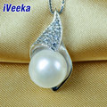 """iVeeka 100% White Freshwater Pearl Pendant Necklaces 925 Sterling Silver Necklace 16"""" Chain Women Luxury Design"""