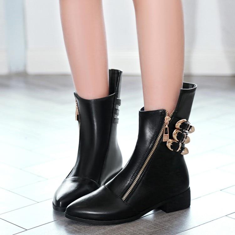 Grande taille 9 10 11-13 bottes femmes chaussures bottines pour femmes dames bottes côté zip ceinture boucle pointue talon plat