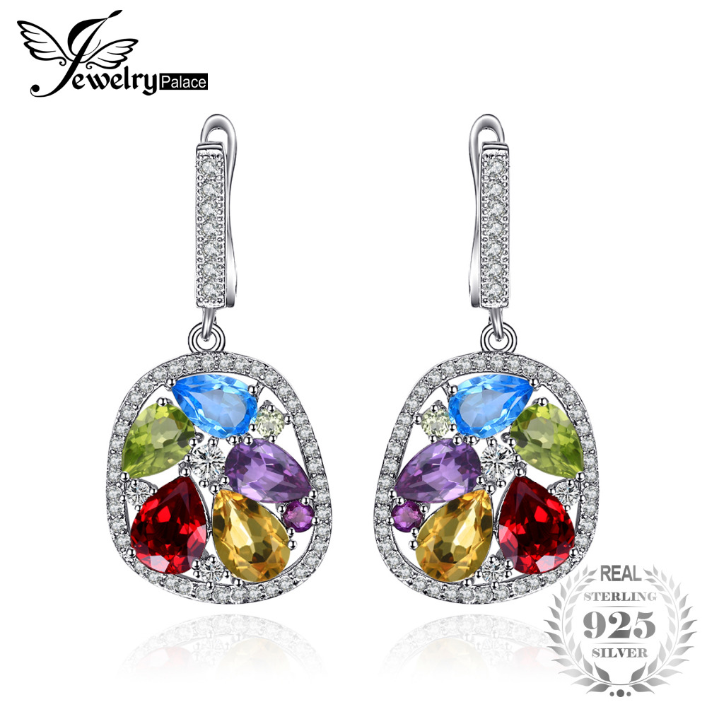 JewelryPalace luxury 5.3ct Genuine Amethyst Garnet Peridot Blue Topaz Drop Dangle Earrings 925 Sterling Silver Jewelry For WomenJewelryPalace luxury 5.3ct Genuine Amethyst Garnet Peridot Blue Topaz Drop Dangle Earrings 925 Sterling Silver Jewelry For Women
