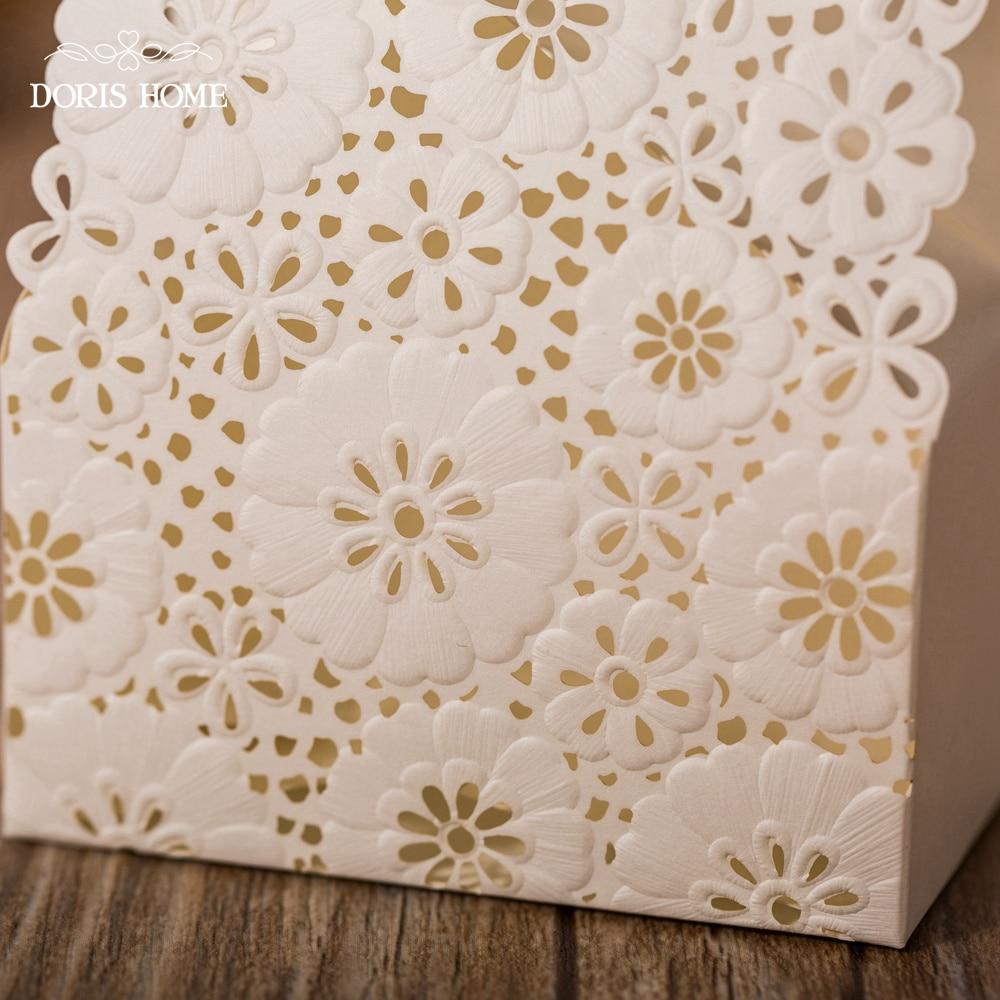 100 pcs Free Shipping White / Red Flower Laser Cut Wedding Favor ...