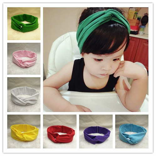 EMS OR DHL 120PCS Europe And The United States Baby Headdress Elastic Cotton Children Cross Hair Band Cute Cloth Hoop