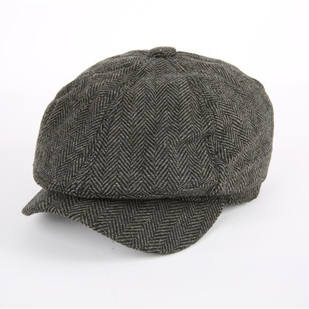 bfdba1ee7ecb0 Compre Hombres Tweed Herringbone Newsboy Cap Unisex Baker Hat ...