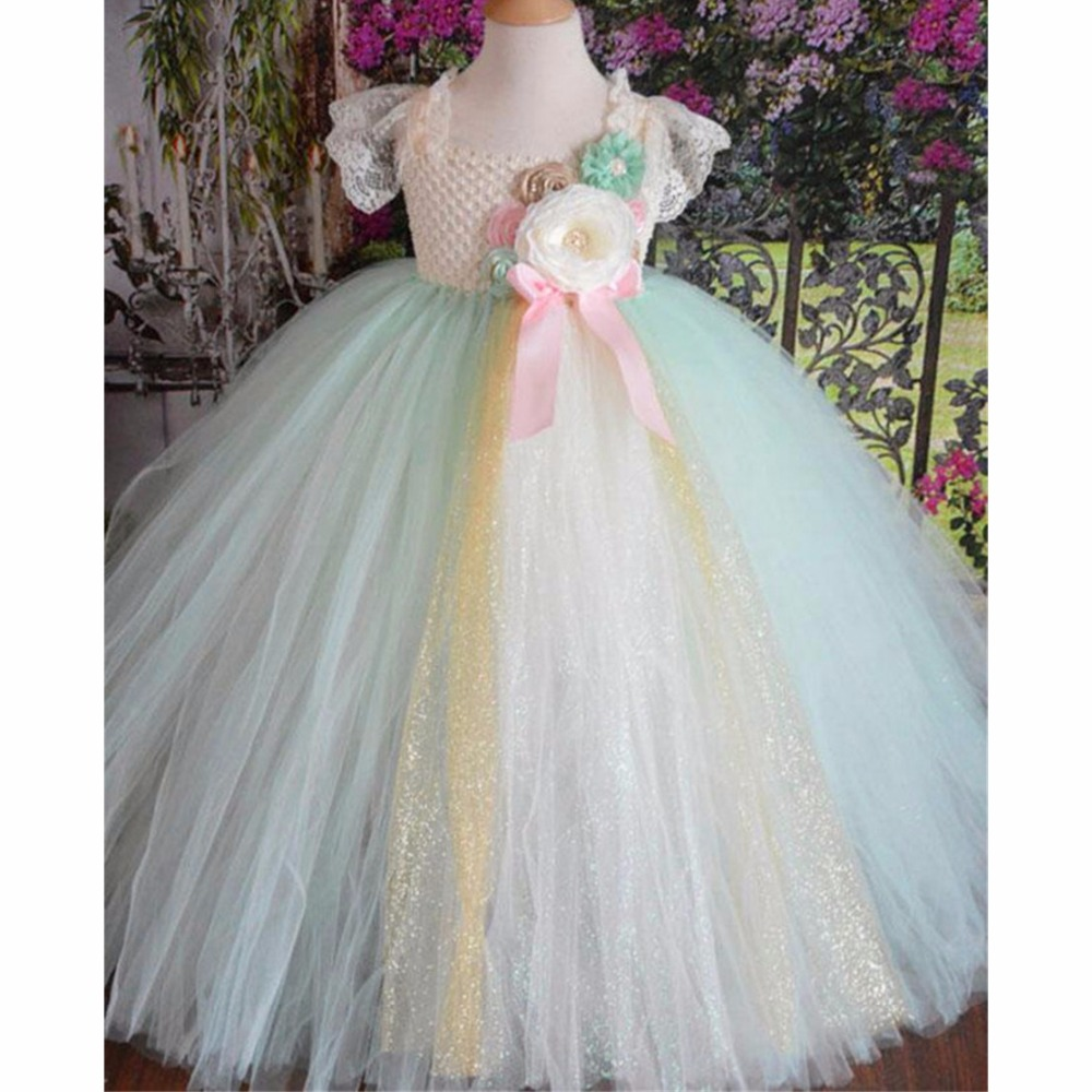 Mint Green Flower Girl Tutu Dress Children Birthday Party Lace Tulle Princess Dress Kids Girl Wedding Pageant Ball Gown Dresses