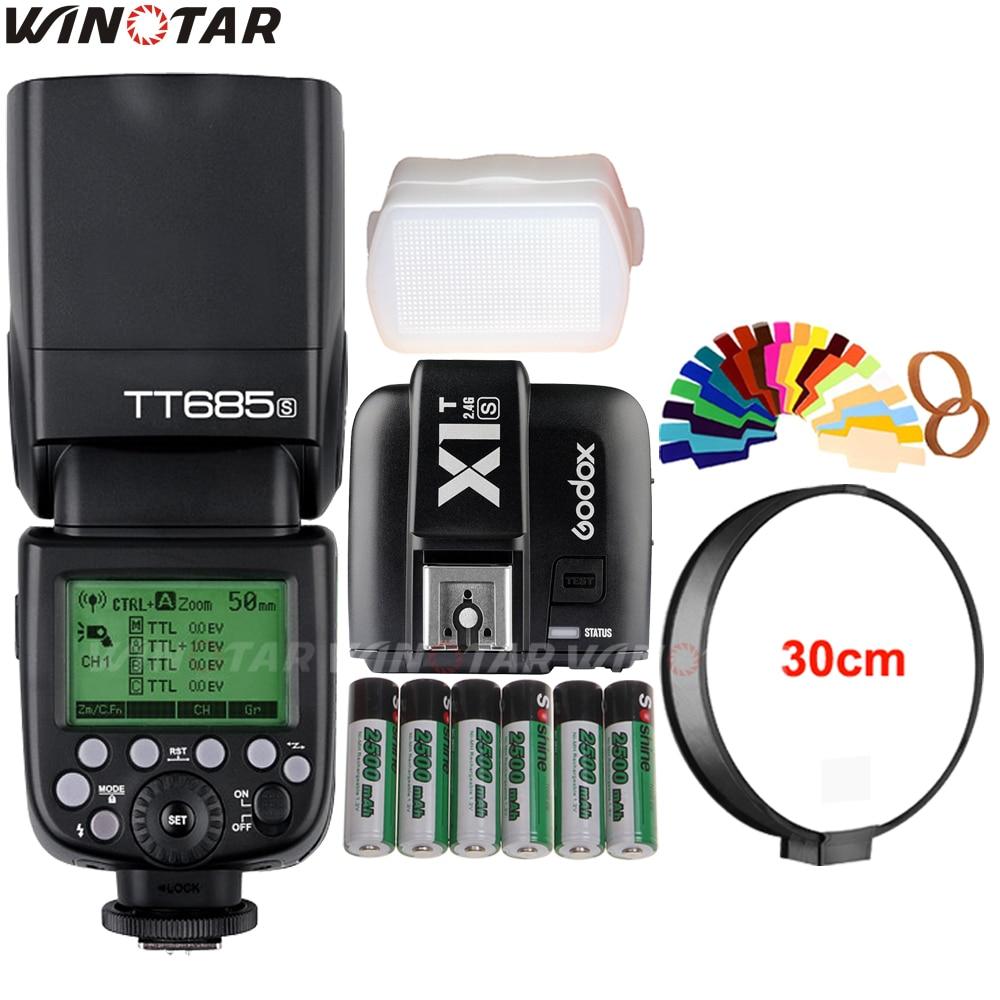 Godox TT685S 2 4G HSS 1 8000s TTL Flash Speedlite X1T S Trigger 6x 2500mAh Battery