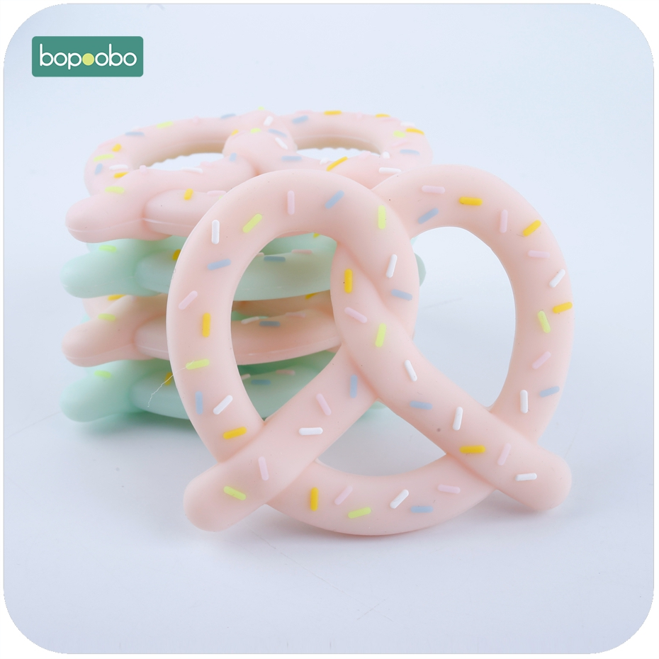Bopoobo 1pc Lovely Silicone Pretzel Teether DIY Bread Stick Teething Pendant Nursing Necklace Pendant BPA Free Baby Teether
