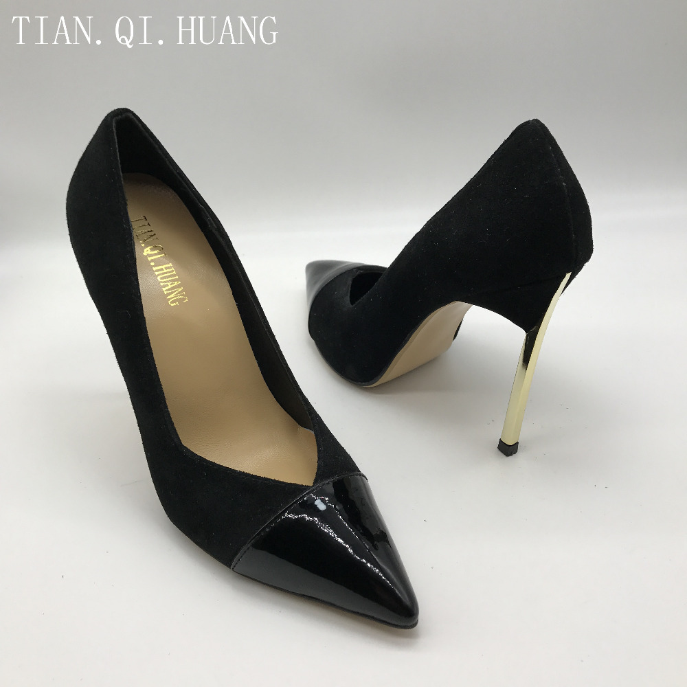 2017 Fashion Design High Heels Shoes Genuine leather New Styles Suede Pumps Women Woman Sexy Shoes Brand TIAN.QI.HUANG 1
