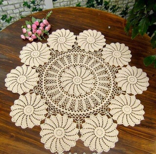 Vintage Handgemaakte Haak Tafelkleed Doliy 90 Cm 36 Inch Ronde