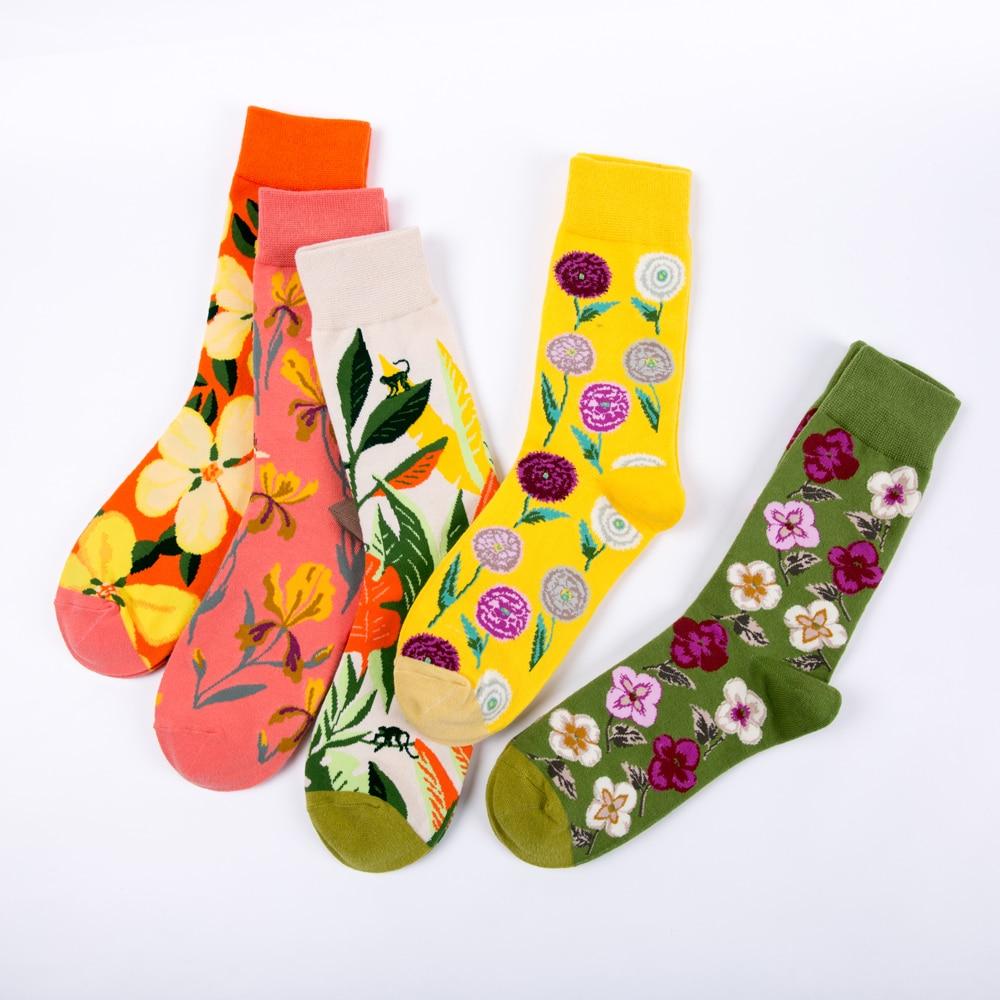 Women Crew Socks Flower Grass Plants Colorful Funny Happy Hosiery Skate Harajuku Kawaii Street Novelty Ladies Casual Socks
