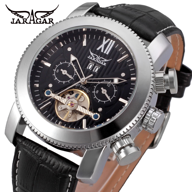 лучшая цена JARGAR Men's Watch Classic Tourbillion Automatic Calendar Branded Leather Strap Black Color JAG510M3