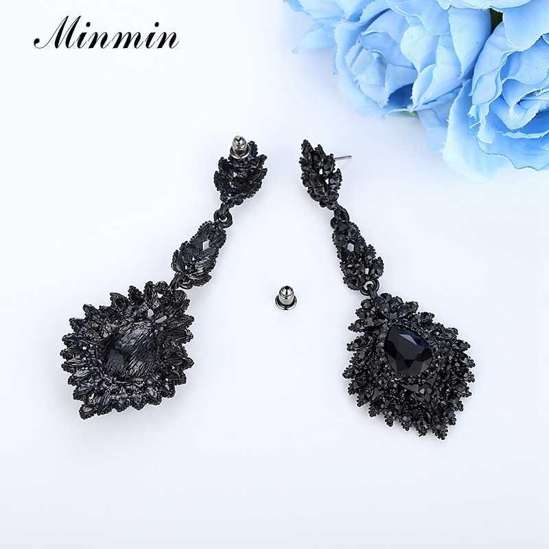 cec7ee20bd ... Minmin Vintage Black Long Chandelier Drop Earrings for Women Teardrop  Crystal Wedding Bridal Earrings Fashion Jewelry