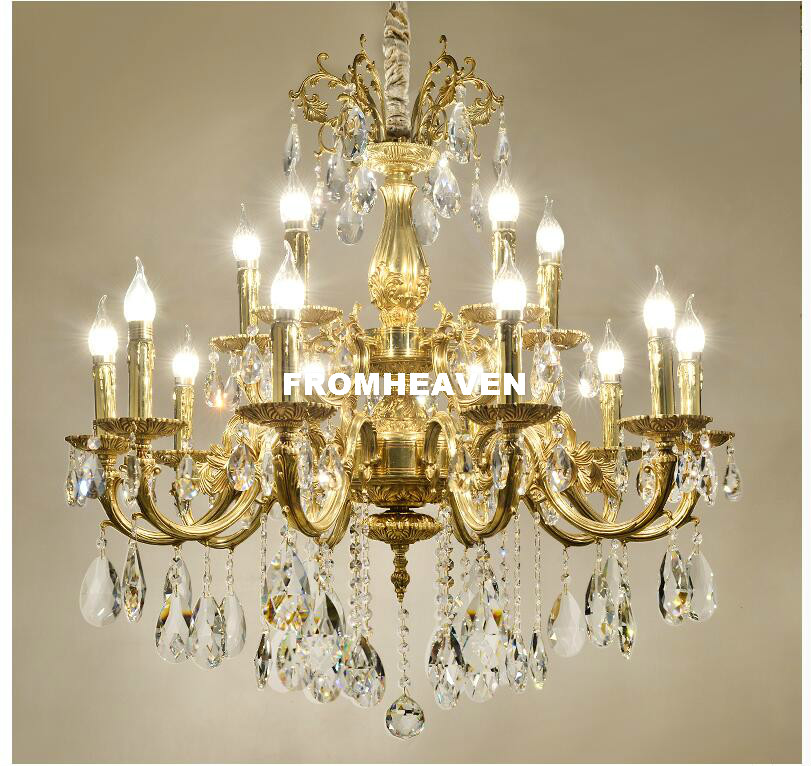 Free Shipping European Copper Chandelier Antique Brass Crystal Chandelier Lamp Crystal Lustre Light Fixture Villa Cristal LightsFree Shipping European Copper Chandelier Antique Brass Crystal Chandelier Lamp Crystal Lustre Light Fixture Villa Cristal Lights