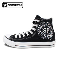 High Top Black Converse Shoes Band Simple Plan Hand Painted Canvas Sneaker Mens Personalized Shoes Gifts