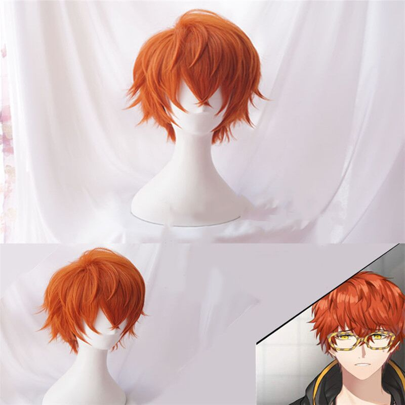 Mystic Messenger Cosplay Wigs 707 Wig Short Red Orange Heat Resistant Synthetic Hair Cosplay Wig + Wig Cap
