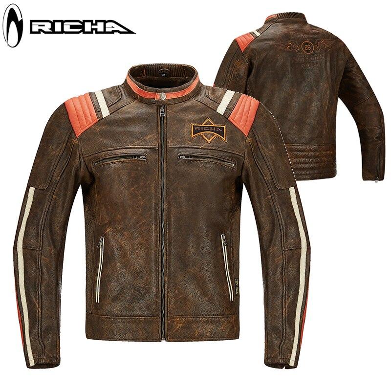 RICHA motocross course équitation cuir coupe-vent veste en cuir rétro Jersey hommes et femmes anti-automne saisons moto