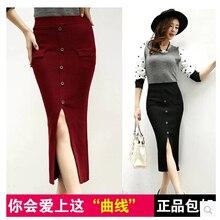 HOT Women's Solid Color Bordeaux Black Before The Knitted Bust Skirt Slim Hip Midguts Female High Waist Slim Saia Longa
