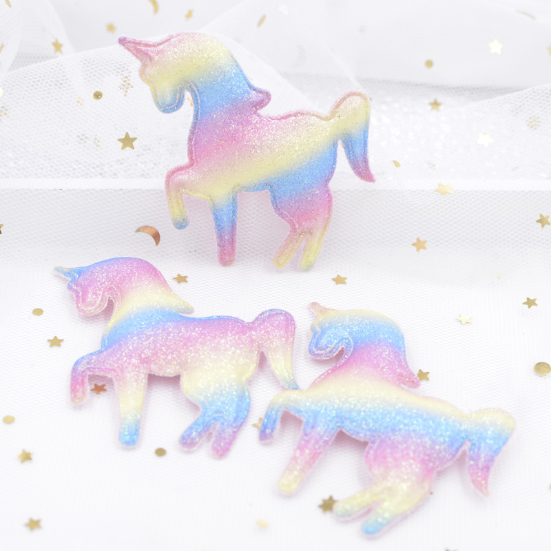 Upscale Glitter Iridescence Cartoon Unicorn Applique Padded Patches for DIY Happy Birthday Party Magical Dessert Gifts Decor S36