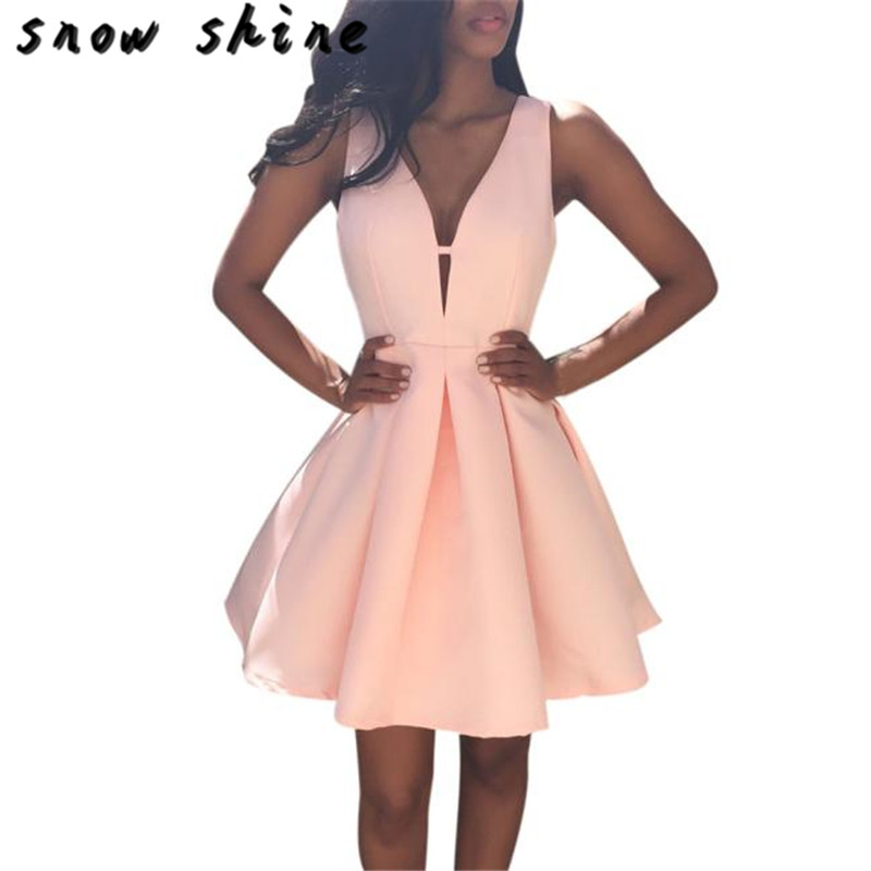 snowshine YLI Women Summer V Neck Sleeveless Cocktail Party Dress free shipping