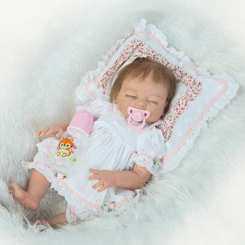 "Buy 20"" 50 cm New full Silicone vinyles adoras Lifelike toddler Baby Bonecass girl kid doll babies reborn silicone toys children"