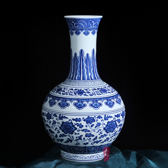 blue and white porcelain vase ceramic ornaments antique vase retro table home decoration in ming and