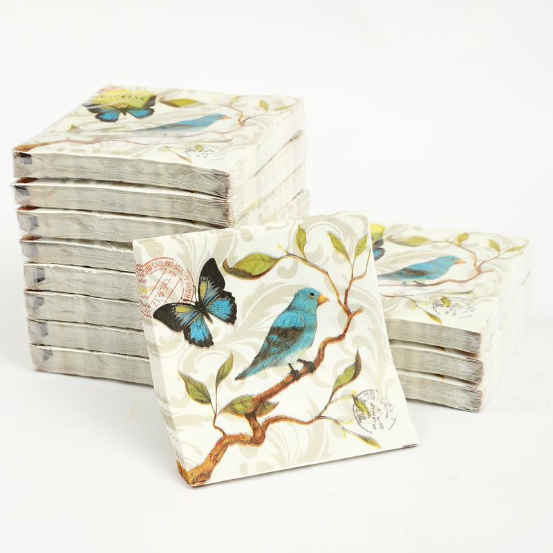 Cocktail paper napkins-20pcs 25x25cm 3 ply blue bird paper napkins vintage elegant napkins for decoupage-4NC4106