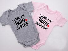 2020 bebê recém-nascido meninos meninas manga curta carta imprimir eu amo minha irmã gêmea/irmão algodão macacão roupas do bebê