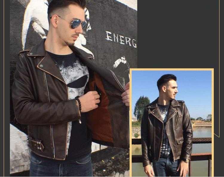 DHL Free shipping.Gift Brand clothing men motorbiker leather Jackets mens vintage genuine Leather jacket.homme Fitness