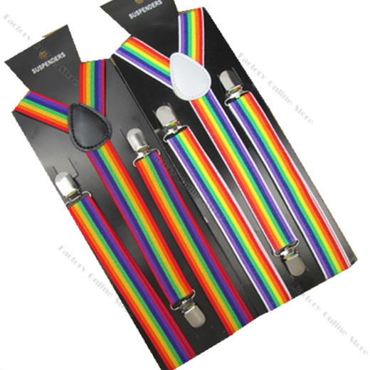 BD011-L 2017 Hot Fashion Asjustable Suspenders Rainbow Striped 100cm Length 2.5 Width 3 Clips Braces for Adult Teen Free Ship