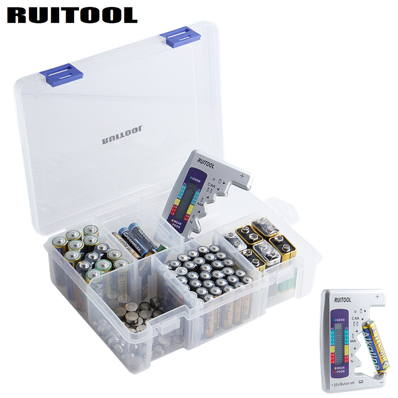 Battery Organizer Storage Case With Battery Tester For Checker Battery Capacity Household Storage Battery font b