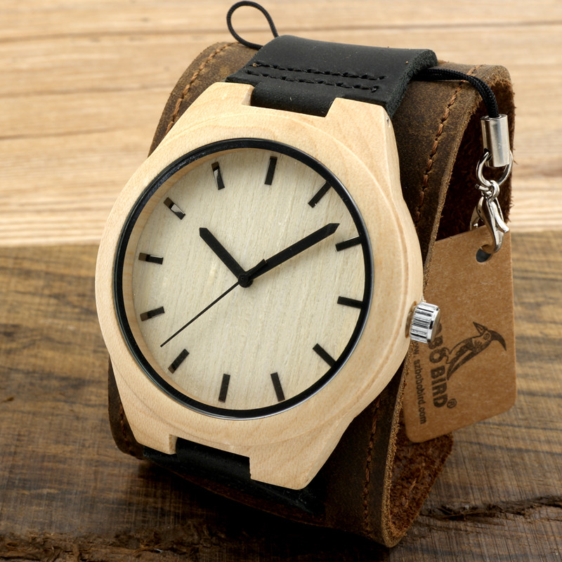 BOBO BIRD Mens Top Brand Luxury Wooden Quartz Watches Japanese 2035 Movement Watches with Wide Leather Strap relojes hombre 2017 bobo bird mens wooden strap watches