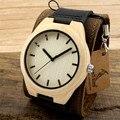 Bobo bird mens top marca de luxo de madeira relógios de quartzo japonês 2035 movimento relógios com pulseira de couro grande relojes hombre 2017