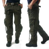 Men Baggy ARMY CARGO PANTS Military Style Tactical Pants Combat Pockets Army Green Multi Pocket Work