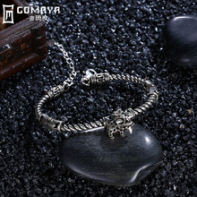 цена GOMAYA Vintage Elephant Bracelets Bangles Women Gift 925 Sterling Silver Retro   Color Fine Jewelry Animal