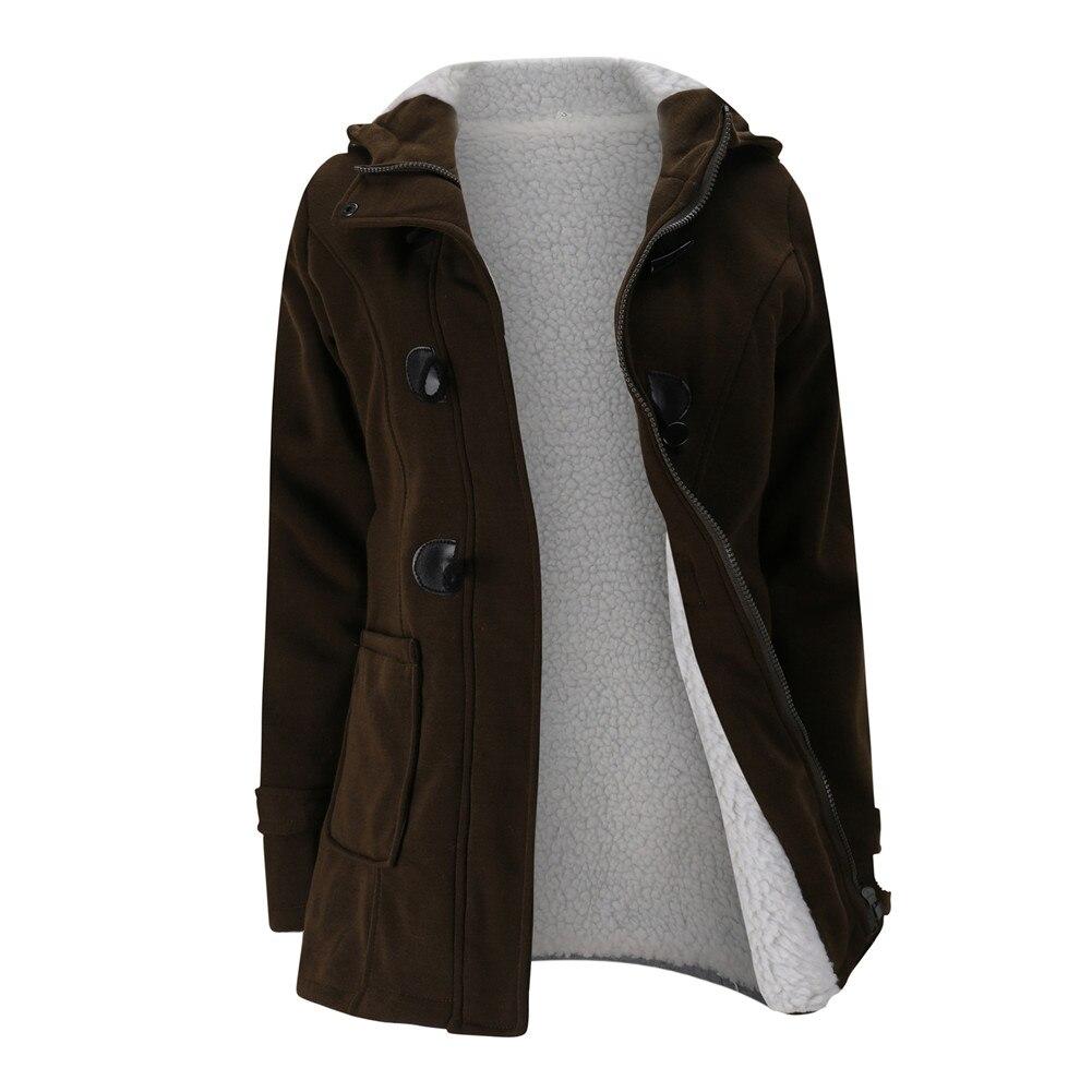 Jacket Coat Winter Women 2019 Hooded Wool Blend Praka Classic Horn Leather Buckle Coat Slim For Ladies Winter Jacket Woman Parka 10