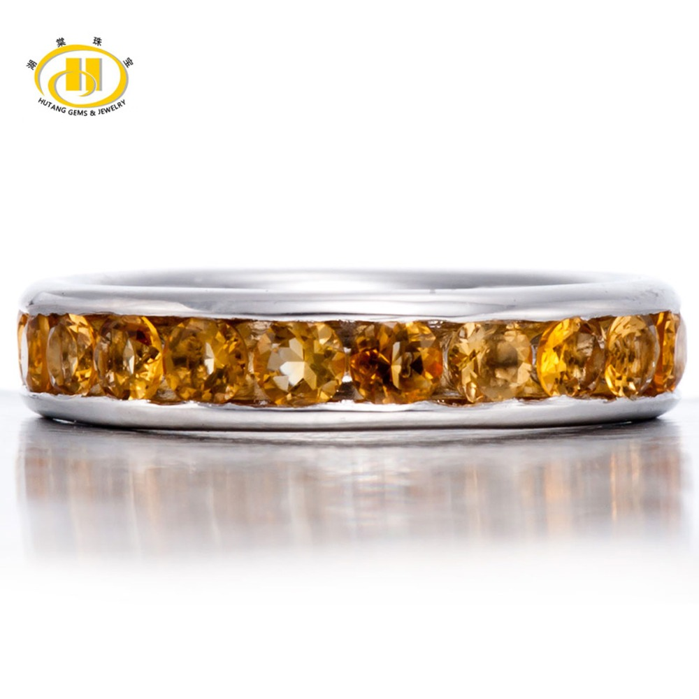 Hutang Genuine Golden Citrine Rings Solid 925 Sterling Silver Band Ring Full Set for Women s