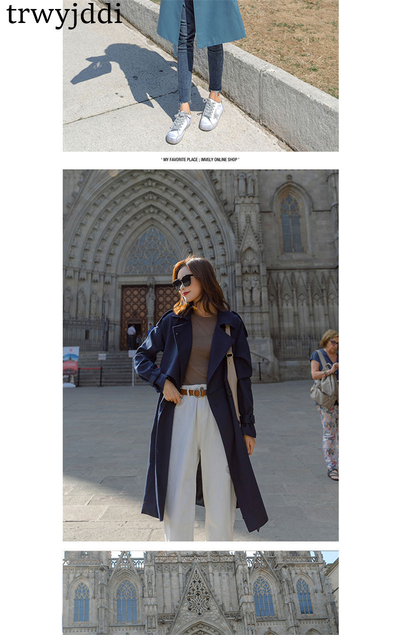 Fashion Windbreaker Coats Long section 19 New Spring Autumn Coat Women Trench Coats Korean Loose Casual Ladies Outerwear N402 7