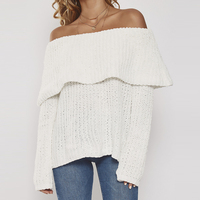 White long sleeve ruffle off the shoulder sweaters women ladies autumn spring sexy slash neck oversize loose knit tops pullover