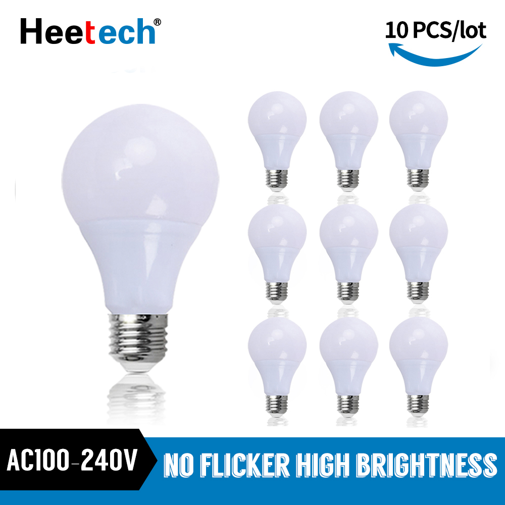10 шт./лот, светодиодная лампа Blub E27, светодиодная лампа AC 110 В 220 в 240 В, настольная лампа-прожектор 3 Вт 5 Вт 7 Вт 9 Вт 12 Вт 15 Вт 18 Вт Холодный/теплый ...