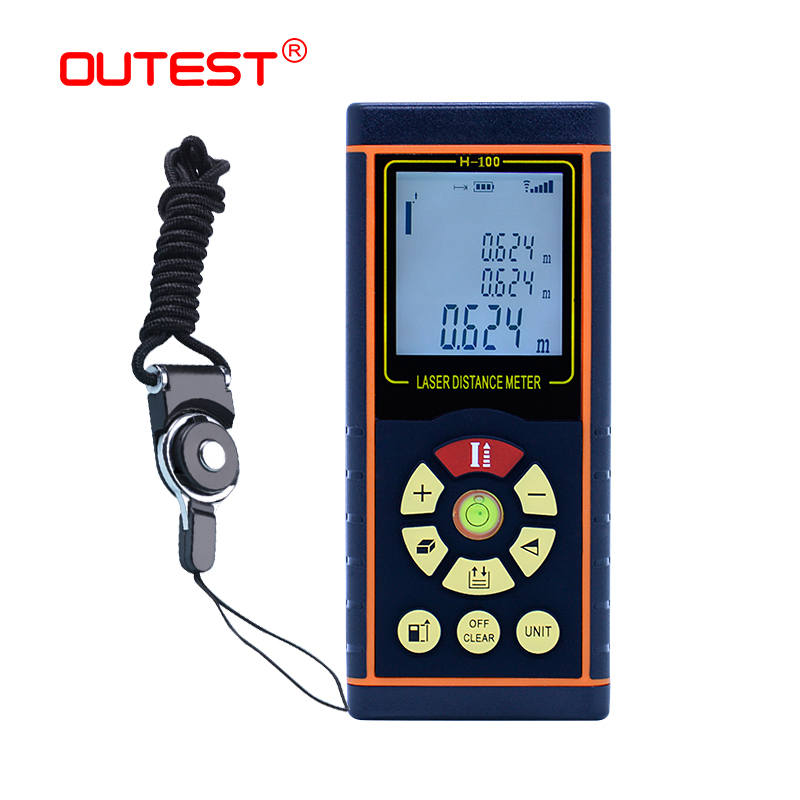 OUTEST digital distance meter laser 40M/60M/80M/100M laser rangefinder laser Roulette ruler trena tape with electronic level