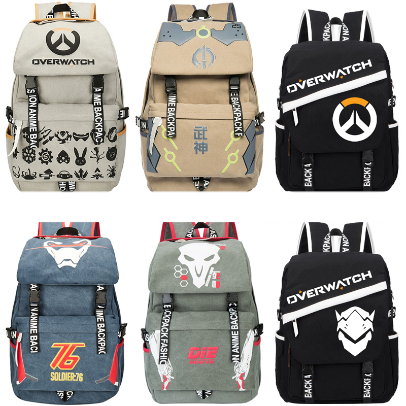 Men Male Canvas Overwatchs Backpack Student School Laptop Backpack Travel Bags for Teenagers Vintage Mochila Casual