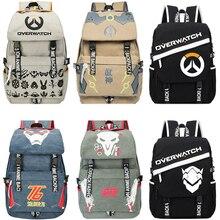 Мужчины Мужской холст overwatchs Рюкзак Студент Школьный рюкзак для ноутбука дорожные сумки для подростков винтажные Mochila Повседневная Рюкзак